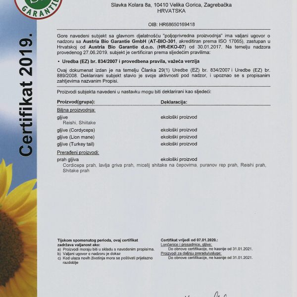 Reishi certifikat